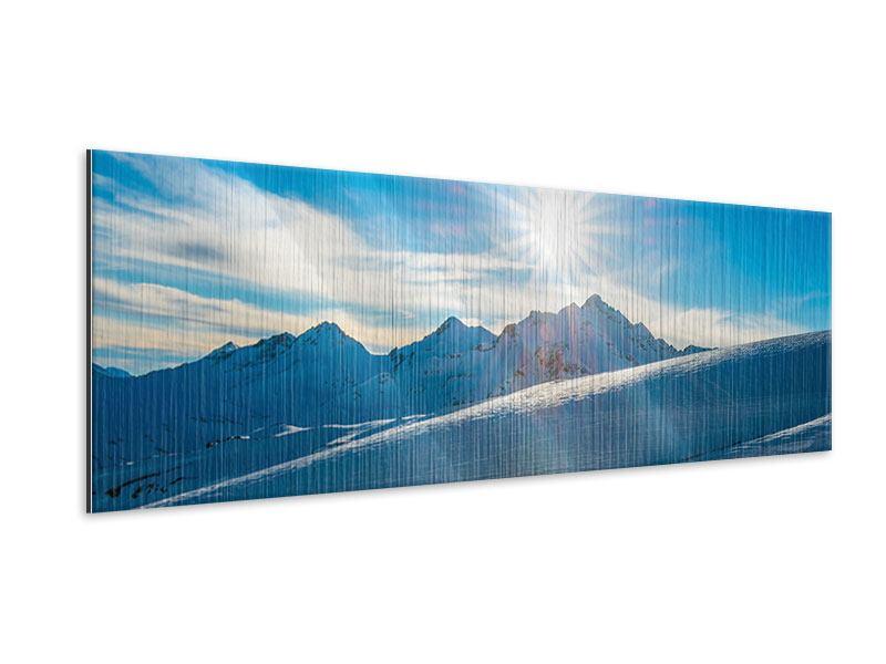 Metallic-Bild Panorama Ein Wintermärchen in den Bergen