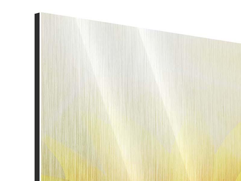 Metallic-Bild Panorama Sonnenblume im Morgentau