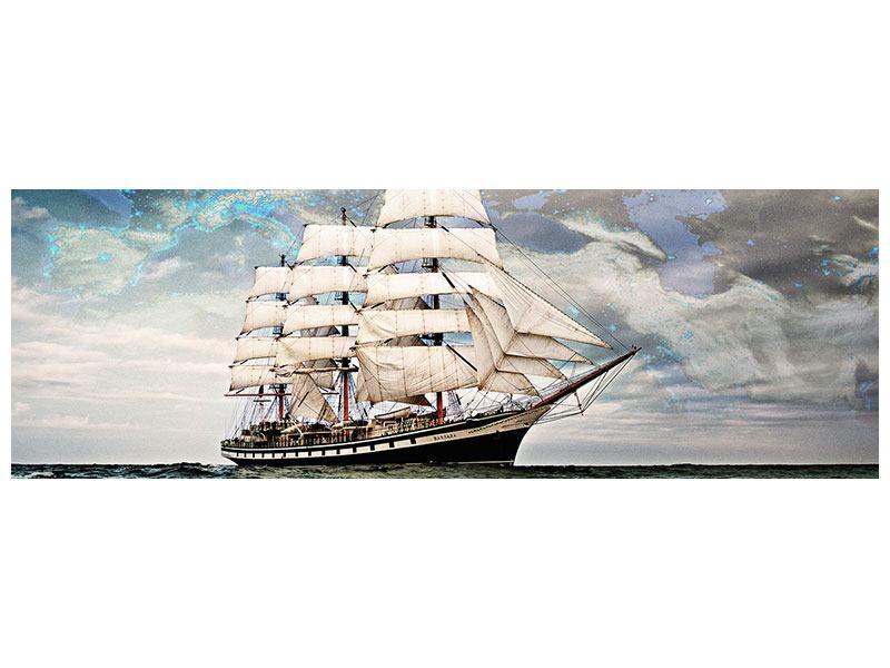 Metallic-Bild Panorama Segelschiff