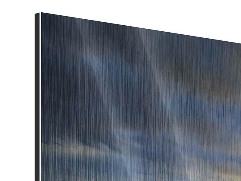 Metallic-Bild Panorama Der Sonnenuntergang bei der Holzbrücke