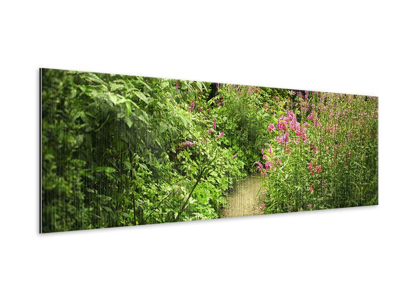 Metallic-Bild Panorama Gartenweg