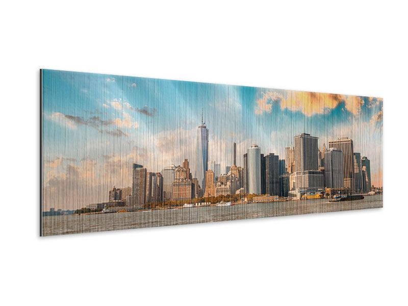 Metallic-Bild Panorama Skyline New York from the other Side