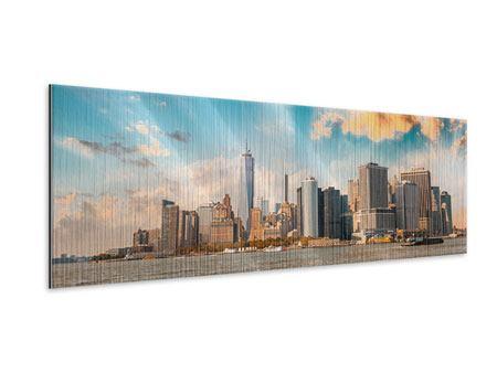 Metallic-Bild Panorama Skyline New York from the other Side