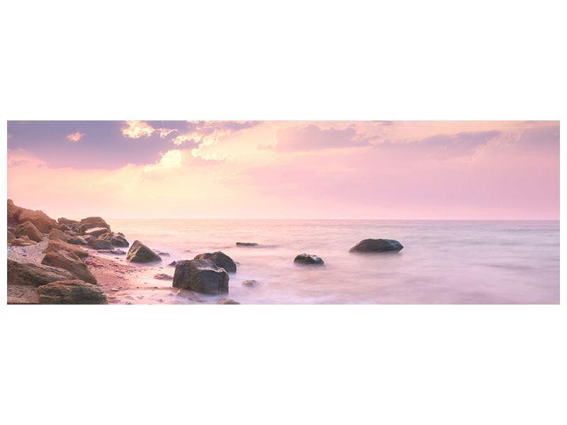 Metallic-Bild Panorama Sonnenaufgang am Meer