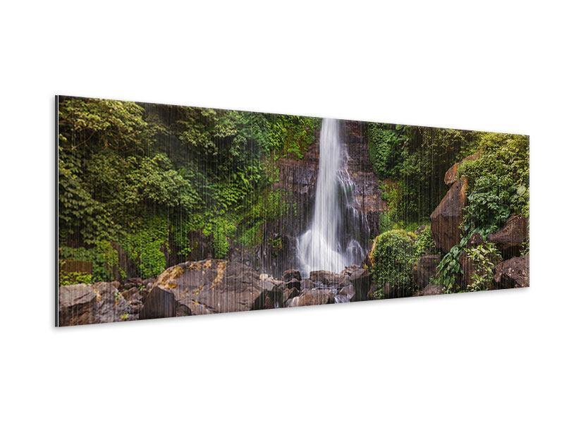 Metallic-Bild Panorama Wasserfall Bali
