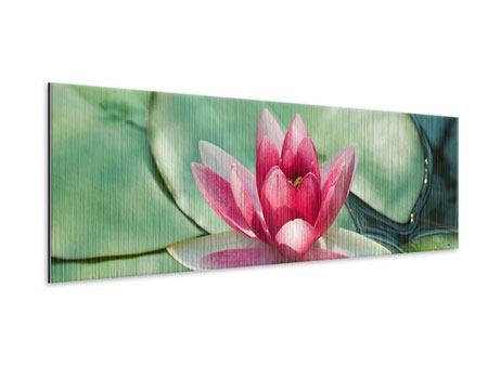 Metallic-Bild Panorama Der Frosch und das Lotusblatt