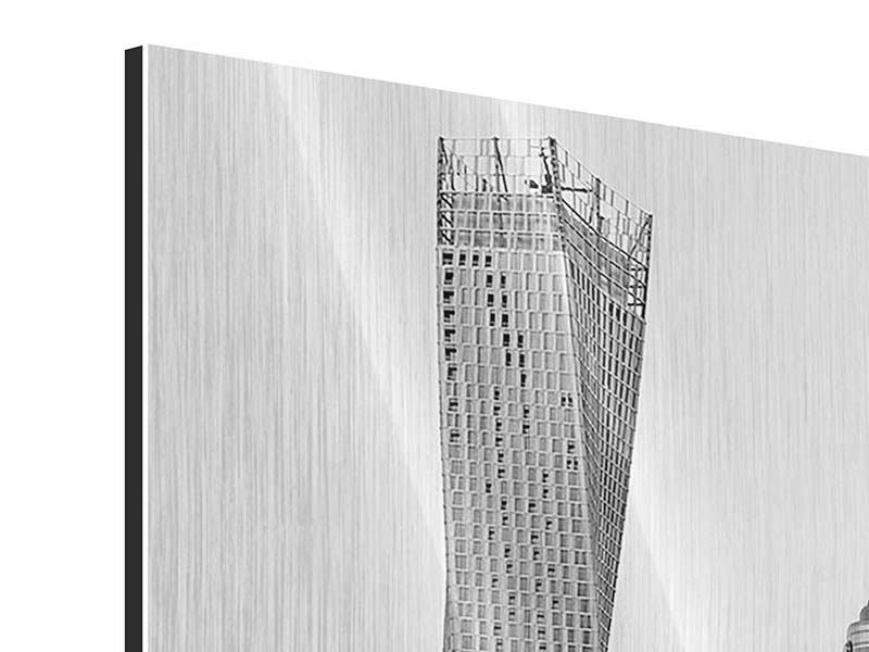 Metallic-Bild Panorama Majestätische Wolkenkratzer in Dubai