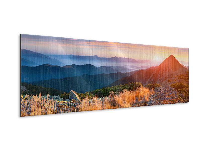 Metallic-Bild Panorama Sonnenuntergang in den Alpen
