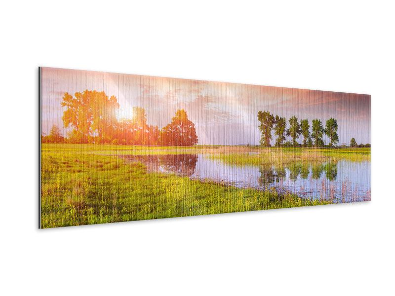Metallic-Bild Panorama Sonnenuntergang am See