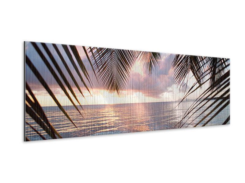 Metallic-Bild Panorama Unter Palmenblätter