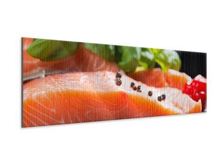 Metallic-Bild Panorama Frischer Fisch