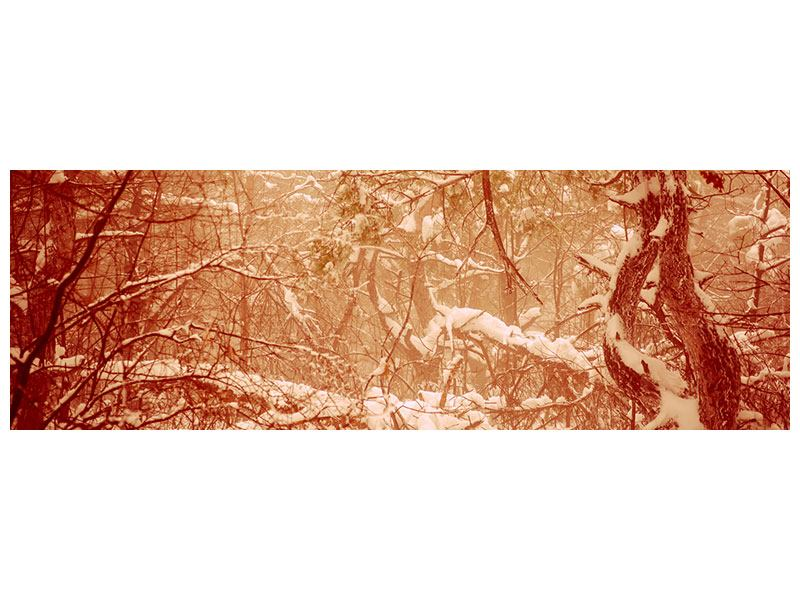 Metallic-Bild Panorama Schneewald