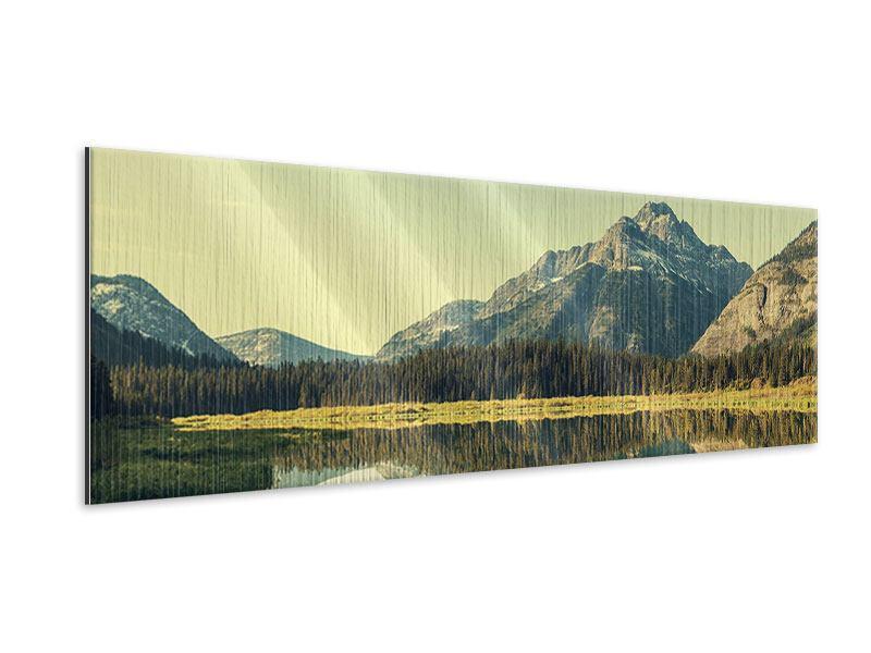Metallic-Bild Panorama Der Bergsee