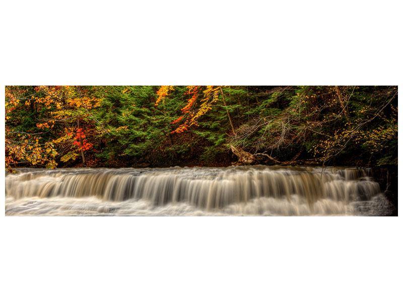 Metallic-Bild Panorama Herbst beim Wasserfall