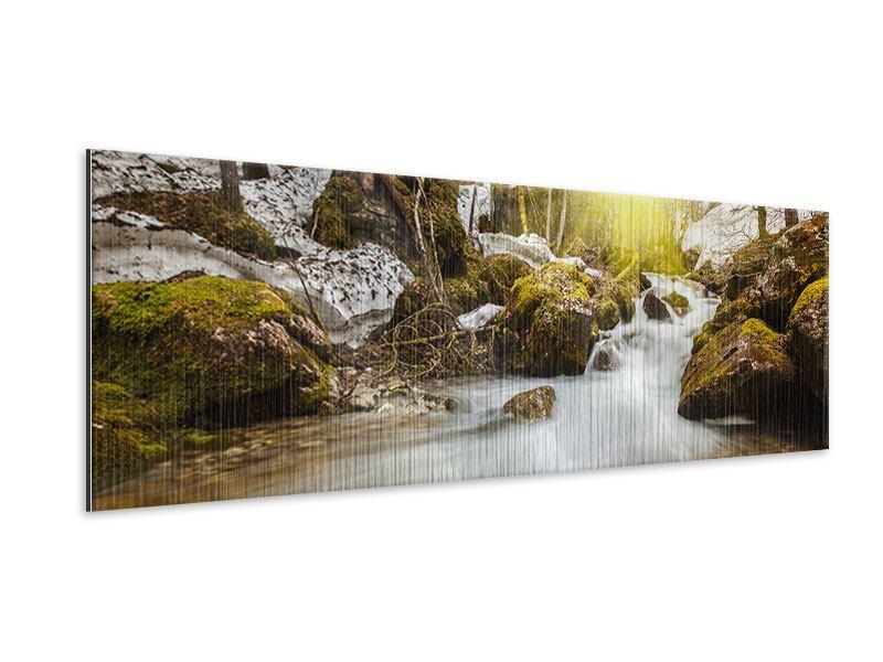 Metallic-Bild Panorama Herabstürzender Bach
