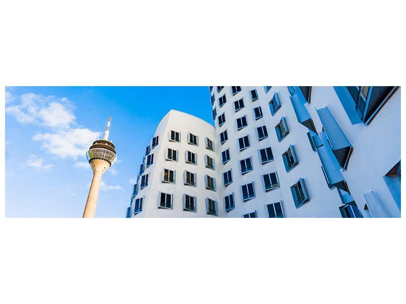 Metallic-Bild Panorama Neuer Zollhof Düsseldorf