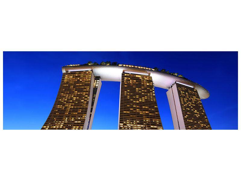 Metallic-Bild Panorama Wolkenkratzer Singapur