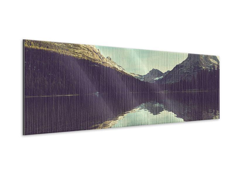 Metallic-Bild Panorama Spiegelung im Bergsee
