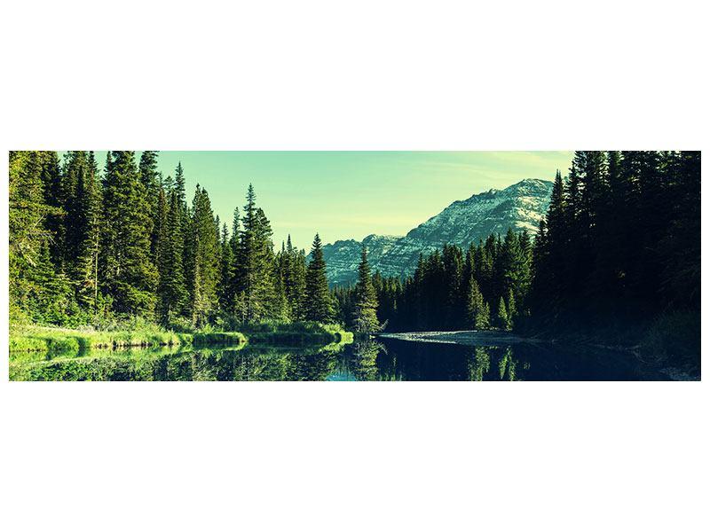 Metallic-Bild Panorama Die Musik der Stille in den Bergen