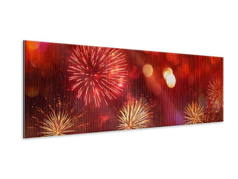 Metallic-Bild Panorama Buntes Feuerwerk