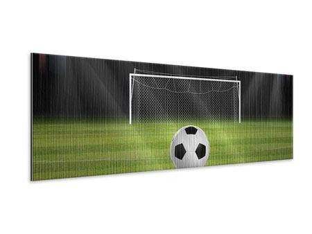 Metallic-Bild Panorama Fussball-Tor
