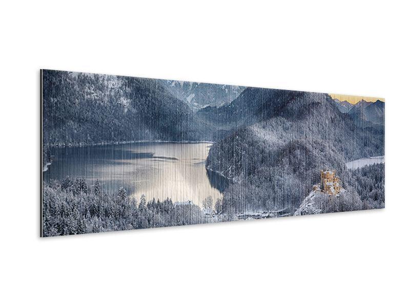 Metallic-Bild Panorama Schloss Neuschwanstein im Ammergebierge