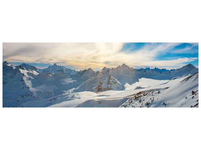 Metallic-Bild Panorama Über den verschneiten Gipfeln