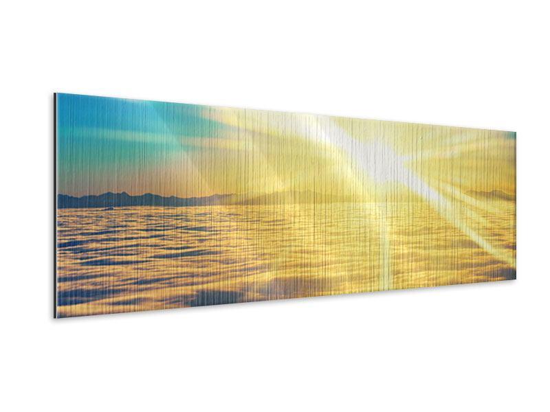 Metallic-Bild Panorama Sonnenuntergang über den Wolken