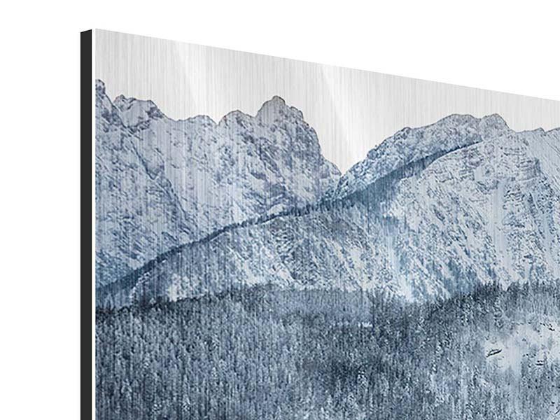 Metallic-Bild Panorama Schwarzweissfotografie Berge