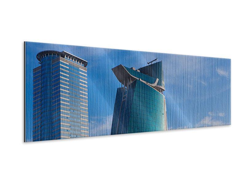 Metallic-Bild Panorama Zwei Wolkenkratzer