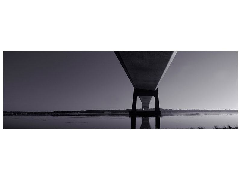 Metallic-Bild Panorama Die Brücke über tiefes Wasser