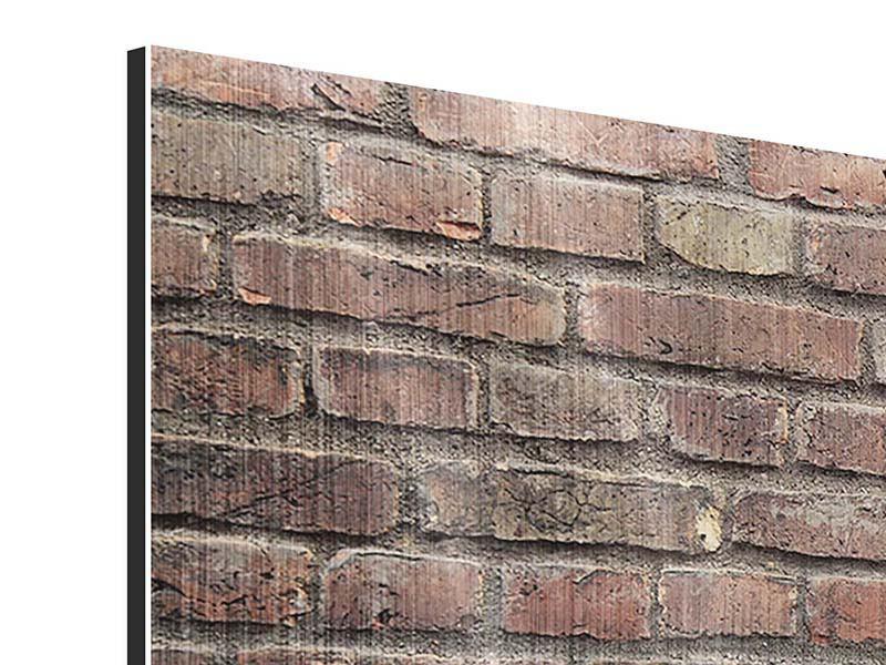 Metallic-Bild Panorama Brick Wall