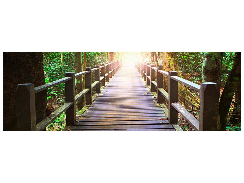 Metallic-Bild Panorama Die Brücke im Wald