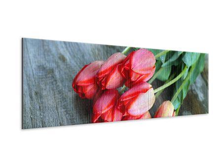 Metallic-Bild Panorama Der rote Tulpenstrauss