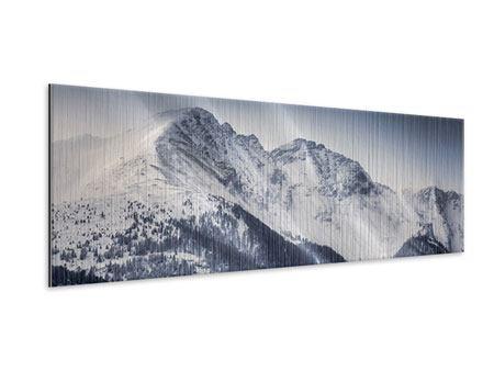 Metallic-Bild Panorama Die Berge der Schweiz