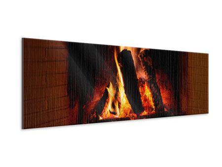 Metallic-Bild Panorama Feuer im Kamin