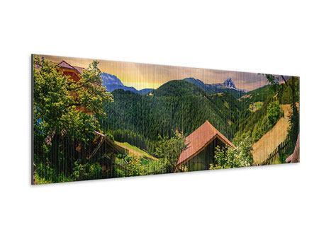Metallic-Bild Panorama Schweizer Berge im Sommer