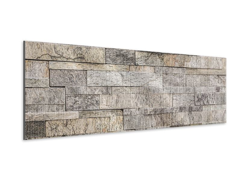 Metallic-Bild Panorama Elegante Steinmauer