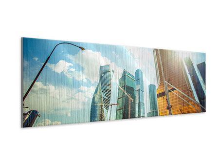 Metallic-Bild Panorama Wolkenkratzer Moskau