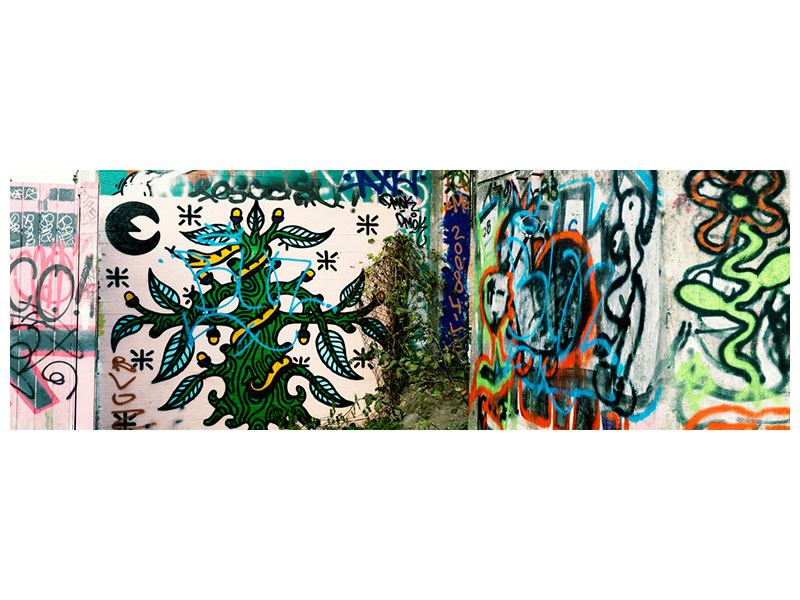 Metallic-Bild Panorama Graffiti im Hinterhof