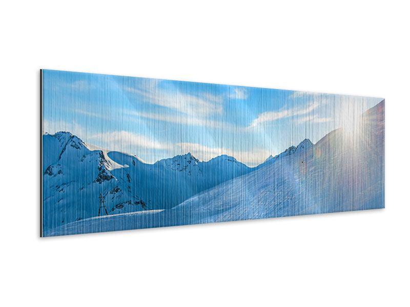 Metallic-Bild Panorama Sonnenaufgang in den Bergen