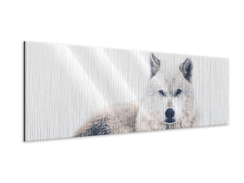 Metallic-Bild Panorama Der Wolf