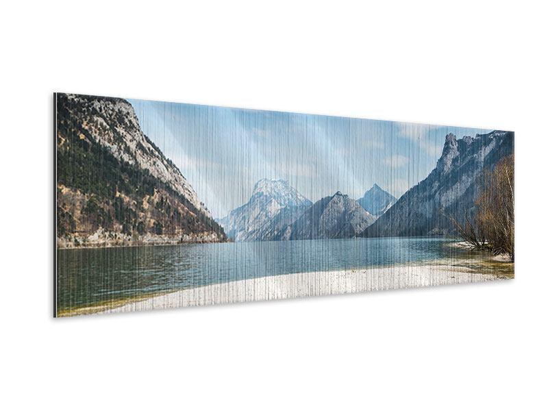 Metallic-Bild Panorama Der idyllische Bergsee