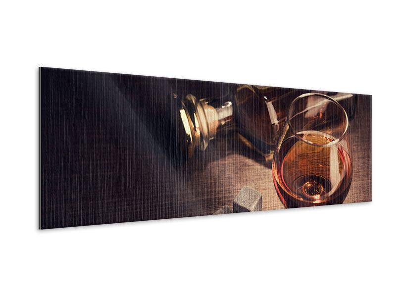 Metallic-Bild Panorama Ein Glas Cognac