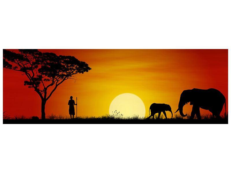 Metallic-Bild Panorama Afrikanische Steppenelefanten