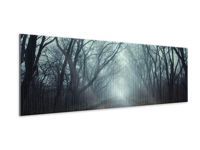 Metallic-Bild Panorama Nebelwald