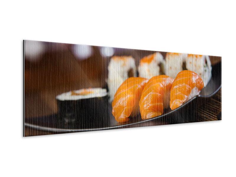 Metallic-Bild Panorama Sushi-Gericht