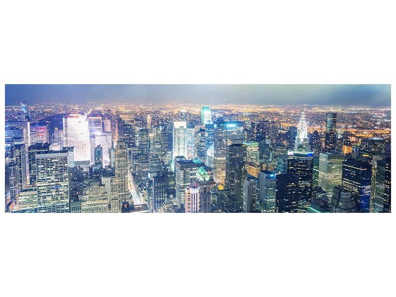 Metallic-Bild Panorama Skyline NY bei Sonnenuntergang