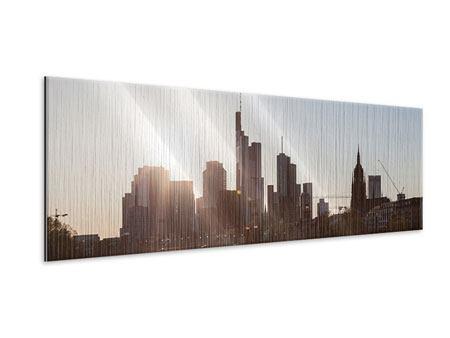 Metallic-Bild Panorama Skyline Sonnenaufgang bei Frankfurt am Main
