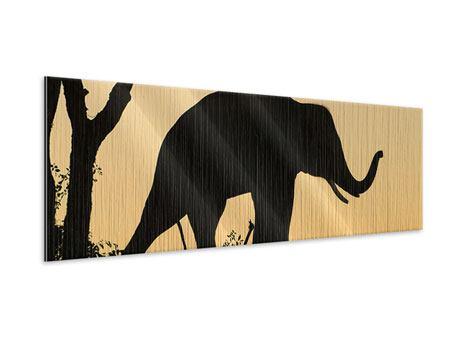 Metallic-Bild Panorama Elefant an der Wand